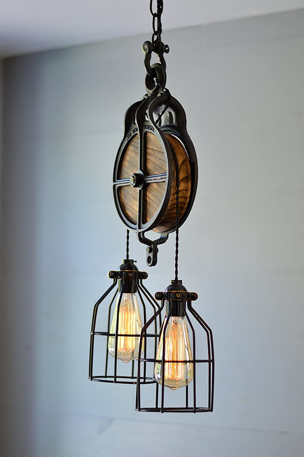 West Ninth Vintage Wood and Iron Barn Pulley Light Black