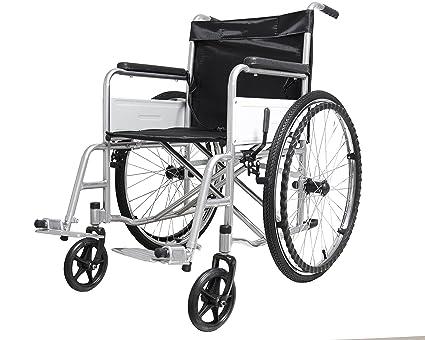 4597c51265e1 Eglemtek Sedia a Rotelle Pieghevole Leggera ad Autospinta, Carrozzina per  Disabili ed Anziani con Braccioli