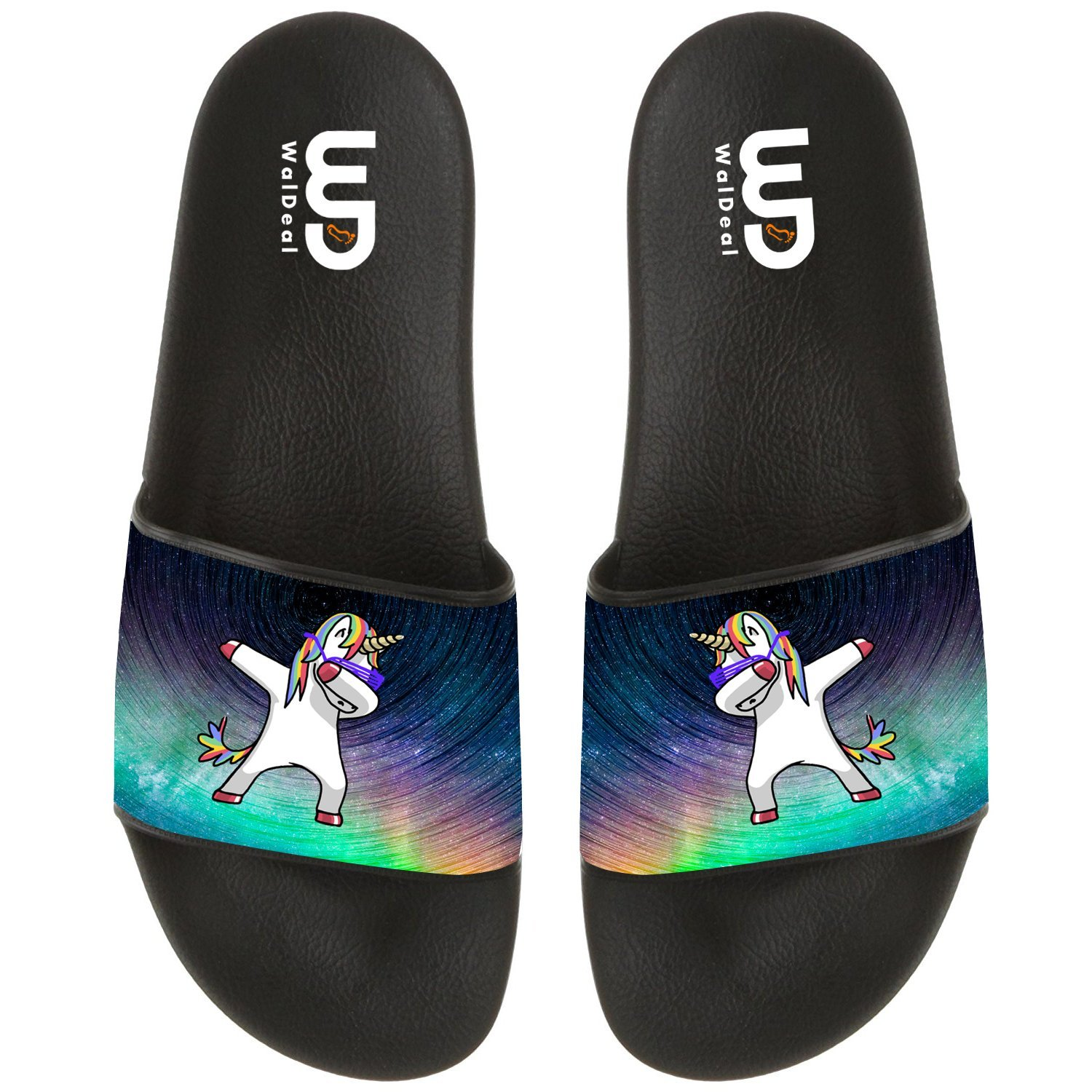 Unicorn With Rainbows And Clouds Summer Non-slip Slide Sandals Home Shoes Beach Swim Flip Flops Indoor and Outdoor Slipper Women Men B075P412PF 14 B(M) US|Starry Sky