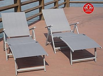 Kozyard Cozy Aluminum Beach Yard Pool Folding Reclining Adjustable Chaise  Lounge Chair (Gray,2