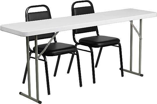 "Furniture 18/"" x 72/"" Plastic Folding Training Table White Kitchen Dining New"