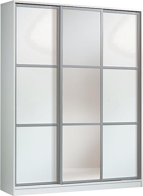 Armario ropero con Espejos Color Blanco Brillo de 3 Puertas correderas, estantes Regulables, molduras Decorativas para Dormitorio. 200cm Alto x 150cm Ancho x 55cm Fondo: Amazon.es: Hogar