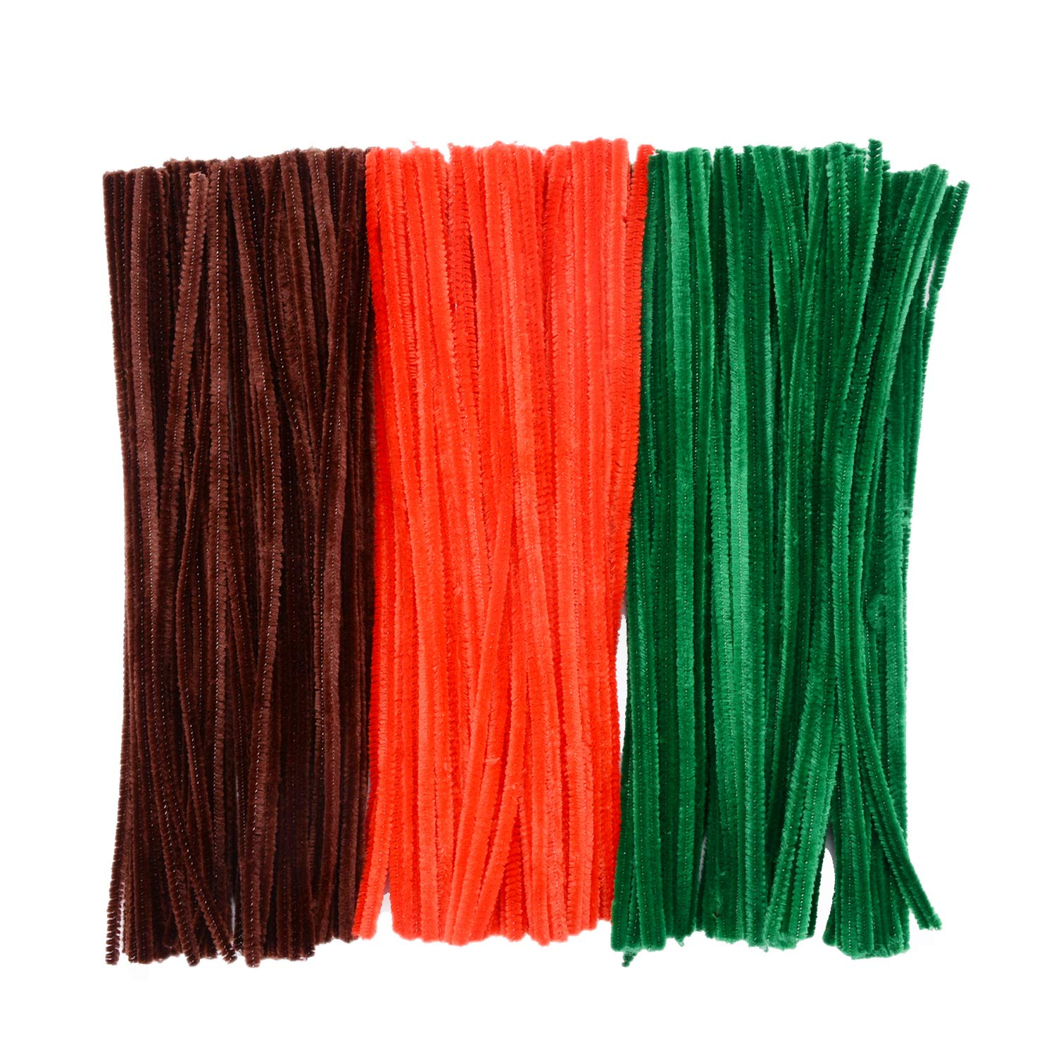 12 Inches by 6 mm eborde 300 Pieces Christmas Pipe Cleaners Chenille Stems for Arts and Crafts Supplies Brown, Red and Blue