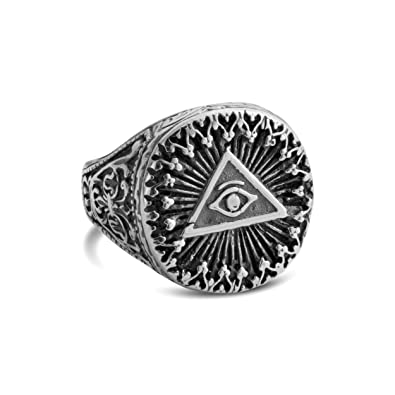 925 Sterling Silver Illuminati All Seeing Eye Pyramid Ring 95