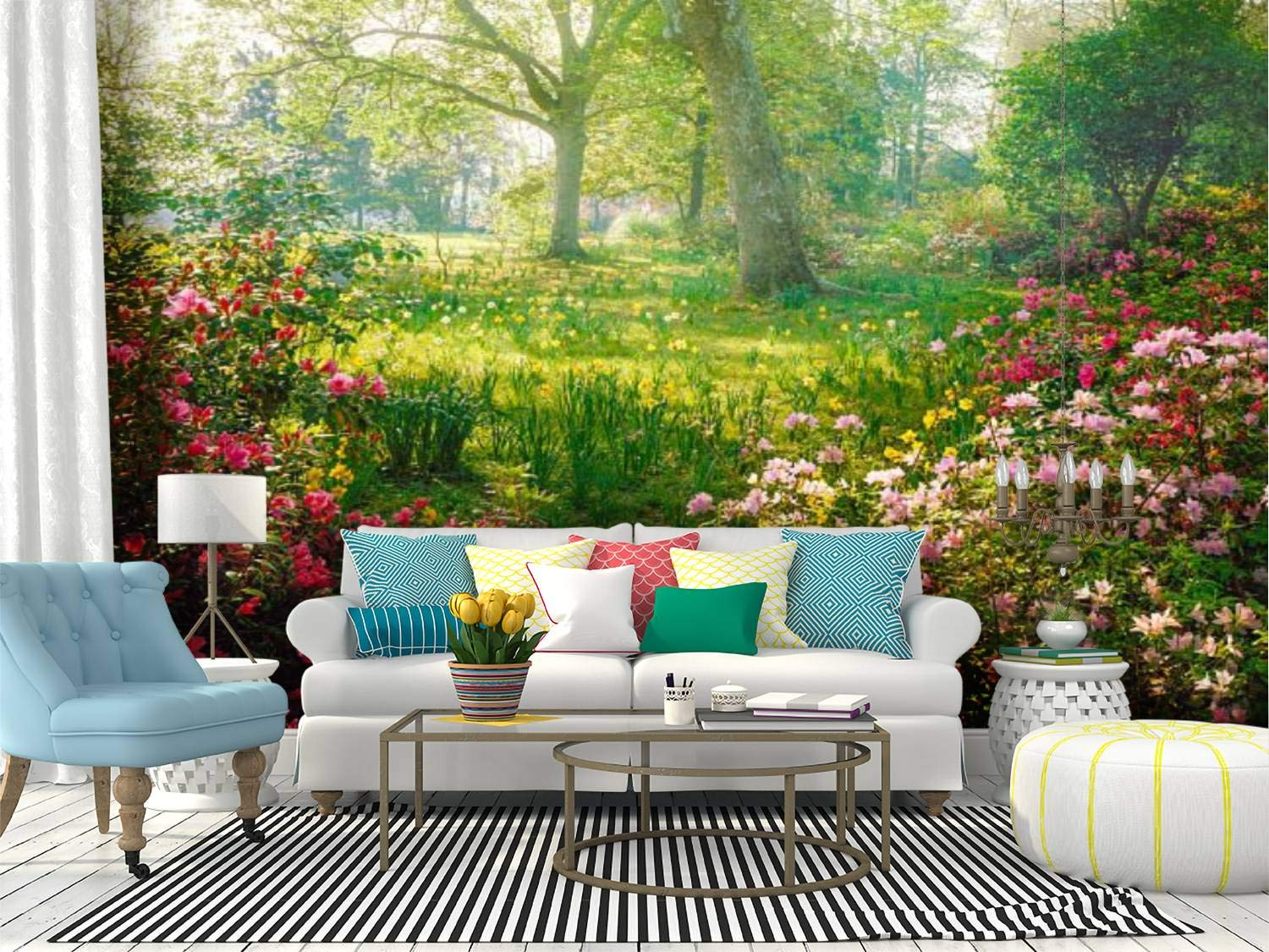 Self Adhesive Wallpaper Roll Paper bright hazy sunlight through azalea and daffodil garden summer hazes Removable Peel and Stick Wallpaper Decorative Wall Mural Posters Home Covering Interior Film