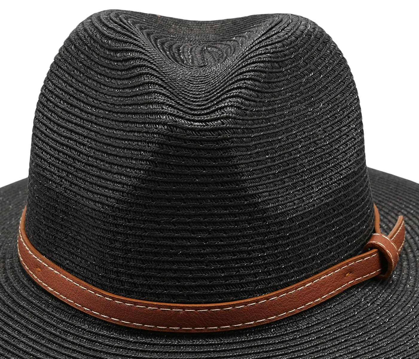 efce08e2f74e19 Epoch hats Women's Braid Straw Wide Brim Classic Fedora Sun Hat UPF 50+  with Adjustable Drawstring (F2250, Black) at Amazon Women's Clothing store: