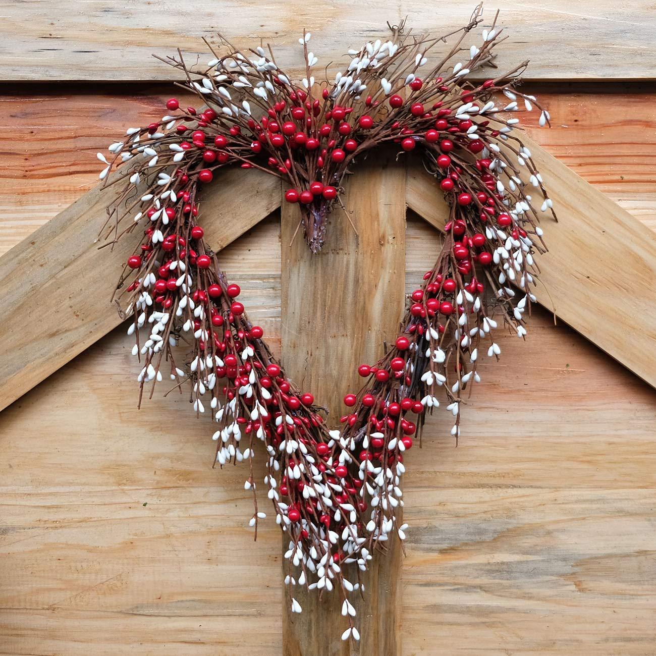 idyllic Heart Wreath Handmade Red Berry Heart Shaped Wreath Rustic Twig for Door Decorative Classic Indoor Decor 18 Inches Valentines Wreath