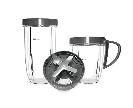 NutriBullet Kit de accesorios para exprimidor de 600 W y 900 W Nutriblast, vasos,