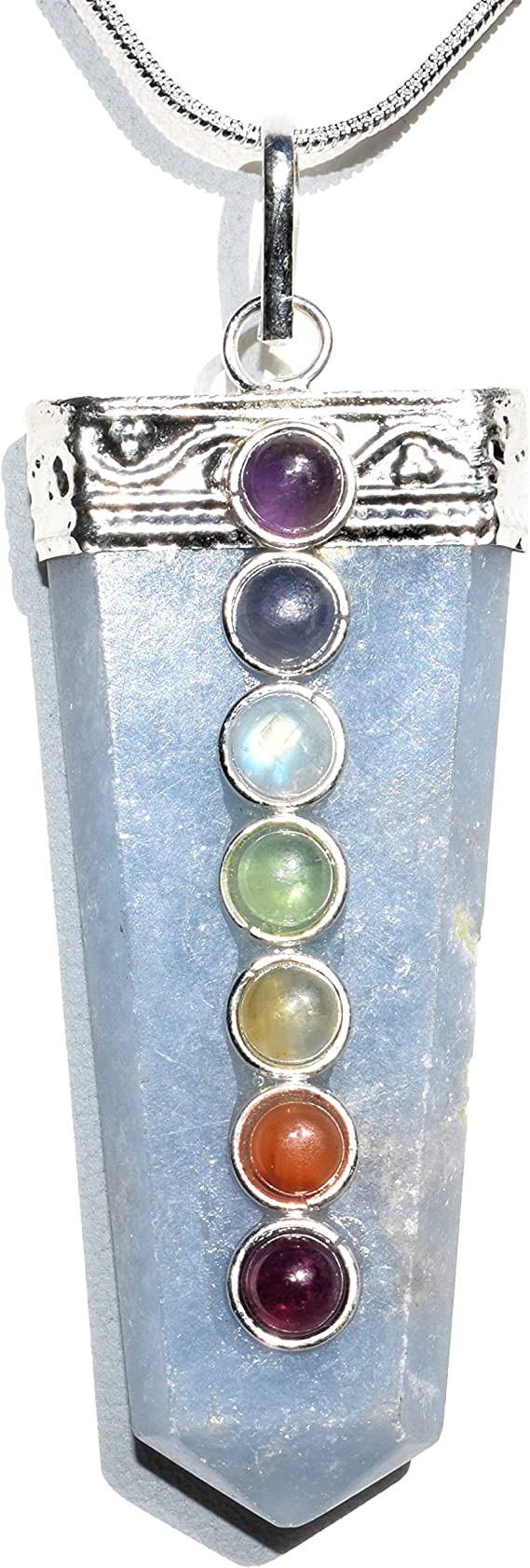 20 Sterling Silver Link Chain 7 Layer Chakra Necklace Wire Wrapped Multiple Crystal Pendant Flat Crystal Point SCN-3 Metaphysical