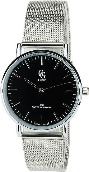 Reloj Mujer GG LUXE Negro Cuarzo Acero Pantalla analógica Water Resist 3 ATM Elegante Deporte Modo