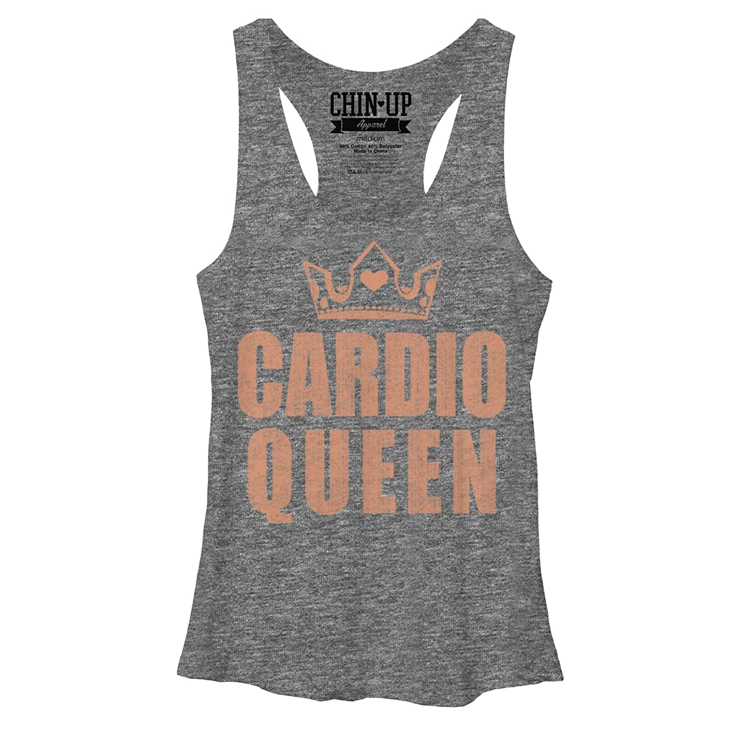 CHIN UP Cardio Queen Crown Womens Graphic Racerback Tank