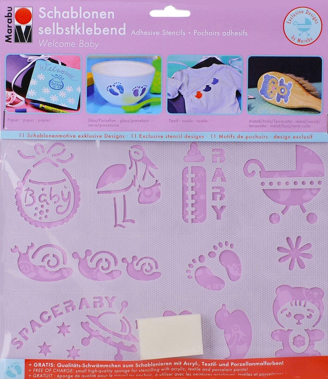 Marabu 4007751505774 Motiv- Schablonen-set, welcome baby Motiv Baby ...