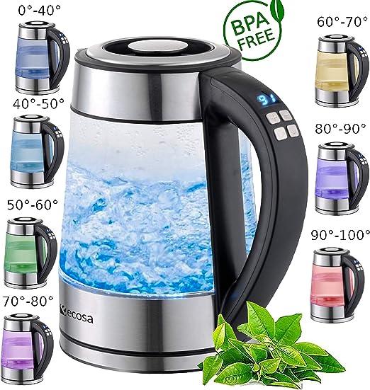 1,7L 2200 Watt Glas Wasserkocher Temperaturwahl Teekocher