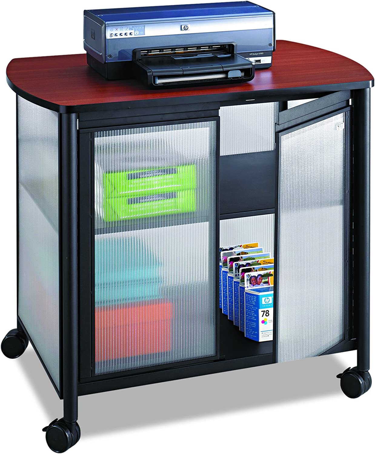Safco Products Impromptu Mobile Print Stand with Doors 1859BL, Cherry Top/Black Frame , 200 lbs. Capacity, Contemporary Design, Swivel Wheels