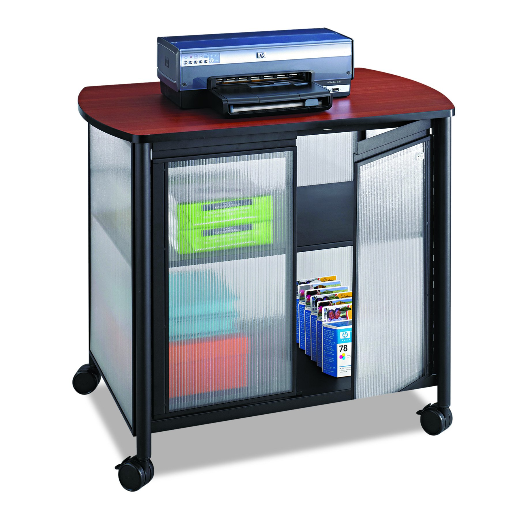 Safco Products Impromptu Mobile Print Stand with Doors 1859BL, Cherry Top/Black Frame , 200 lbs. Capacity, Contemporary Design, Swivel Wheels by Safco Products