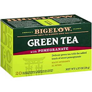 Bigelow Green Tea with Pomegranate Caffeinated Individual Green Tea Bags, for Hot Tea or Iced Tea, 20 Count (Pack of 6), 120 Tea Bags Total.