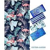 "Genovega Microfiber Beach Towel Oversize, Extra Large 74""x36"", Flamingo Tropical Hawaiian Fast Quick Dry,Cool Travel Pool Tow"