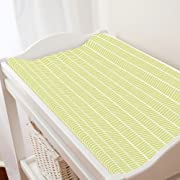 Carousel Designs Light Lime Herringbone Changing Pad Cover - Organic 100% Cotton Change Pad Cover - Made in The USA