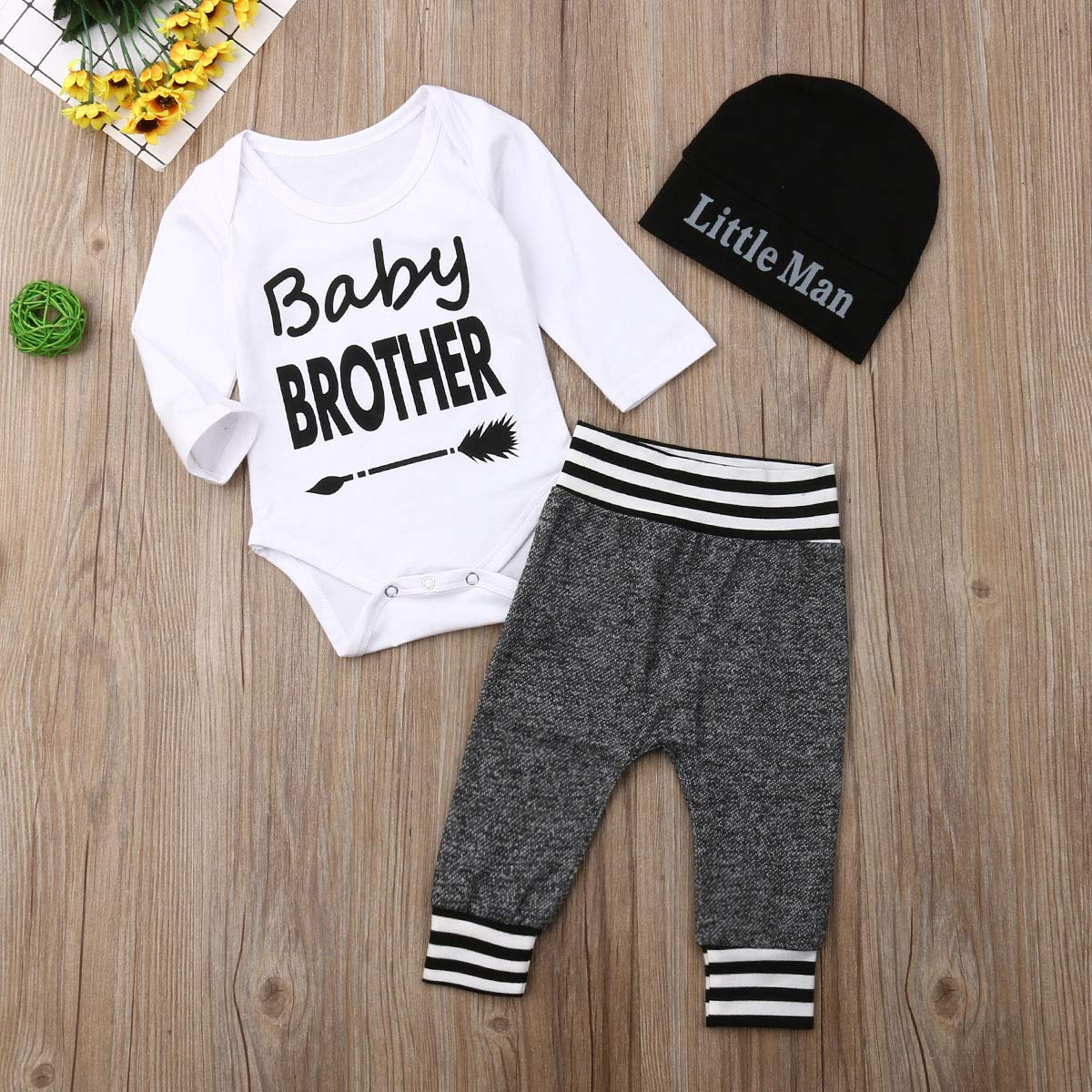 Grace business Toddler Baby Boys Chic Fall 3 Pcs Long Sleeve Letter Printed Romper Top+Grey Stripe Long Pants+Hat 0-18M