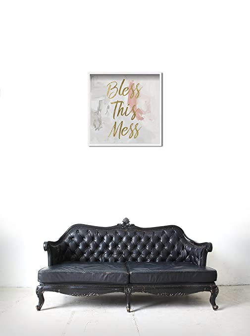 Amazon.com: Oliver Gal Bless This Mess Contemporary Framed Wall Art Print for Home Decor, 36