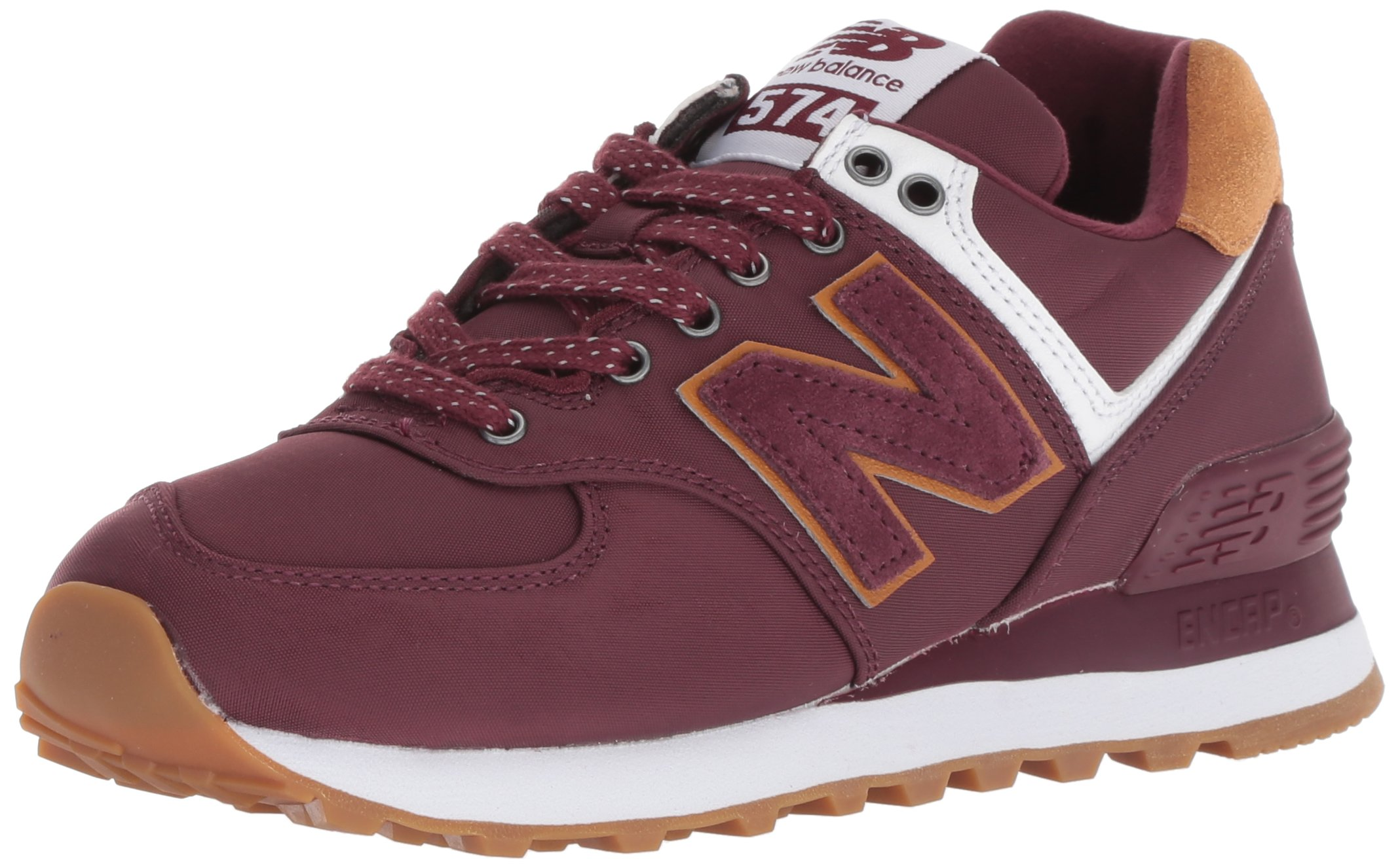 11f7b092a98 New Balance Womens 574 Core Sneaker Burgundy with White 8.5 B US