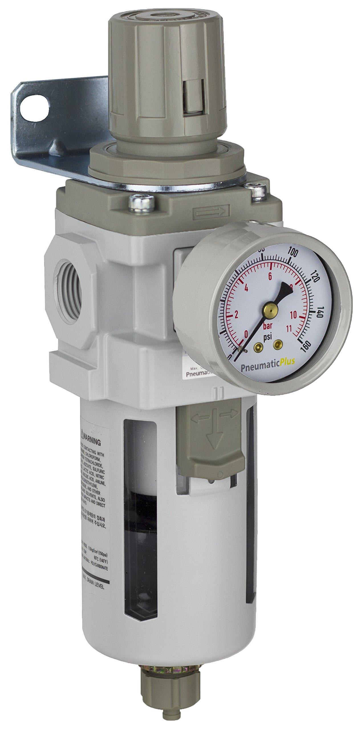 PneumaticPlus SAW400-N04BG Compressed Air Filter Regulator Piggyback Combo 1/2'' NPT - Poly Bowl, Manual Drain, Bracket, Gauge by PneumaticPlus
