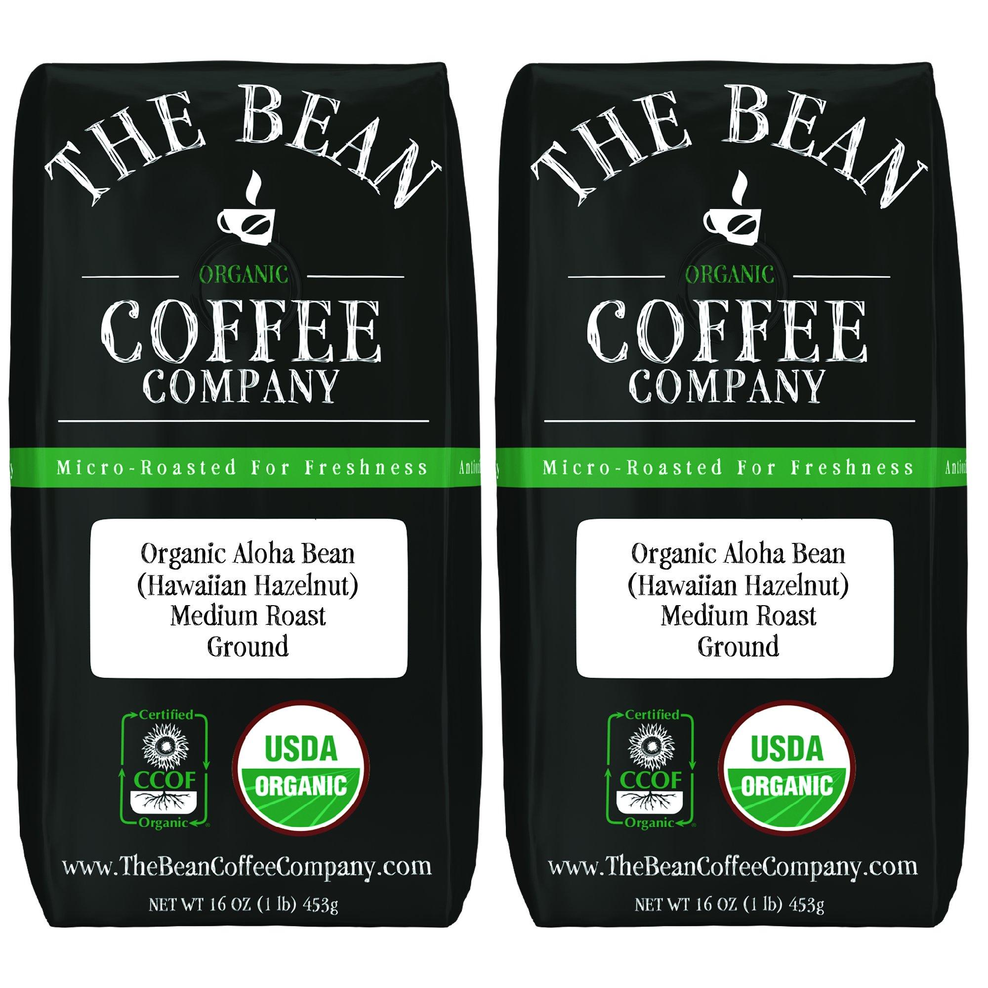 The Bean Coffee Company Organic Aloha Bean (Hawaiian Hazelnut), Medium Roast, Ground, 16-Ounce Bags (Pack of 2)
