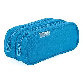 Colorline 59811 - Portatodo Doble, Estuche Multiuso para Viaje, Material Escolar, Neceser y Accesorios. Color Azul Claro, Medidas 21 x 9 x 5.5 cm