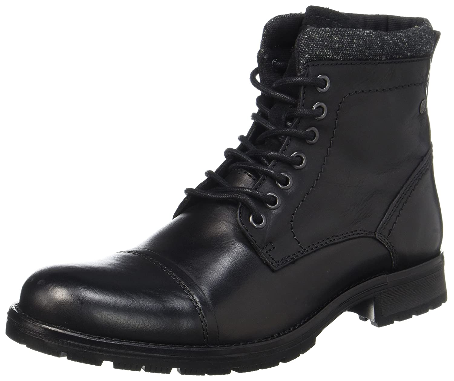 TALLA 44 EU. Jack & Jones Jfwmarly Leather Black, Botas Clasicas para Hombre