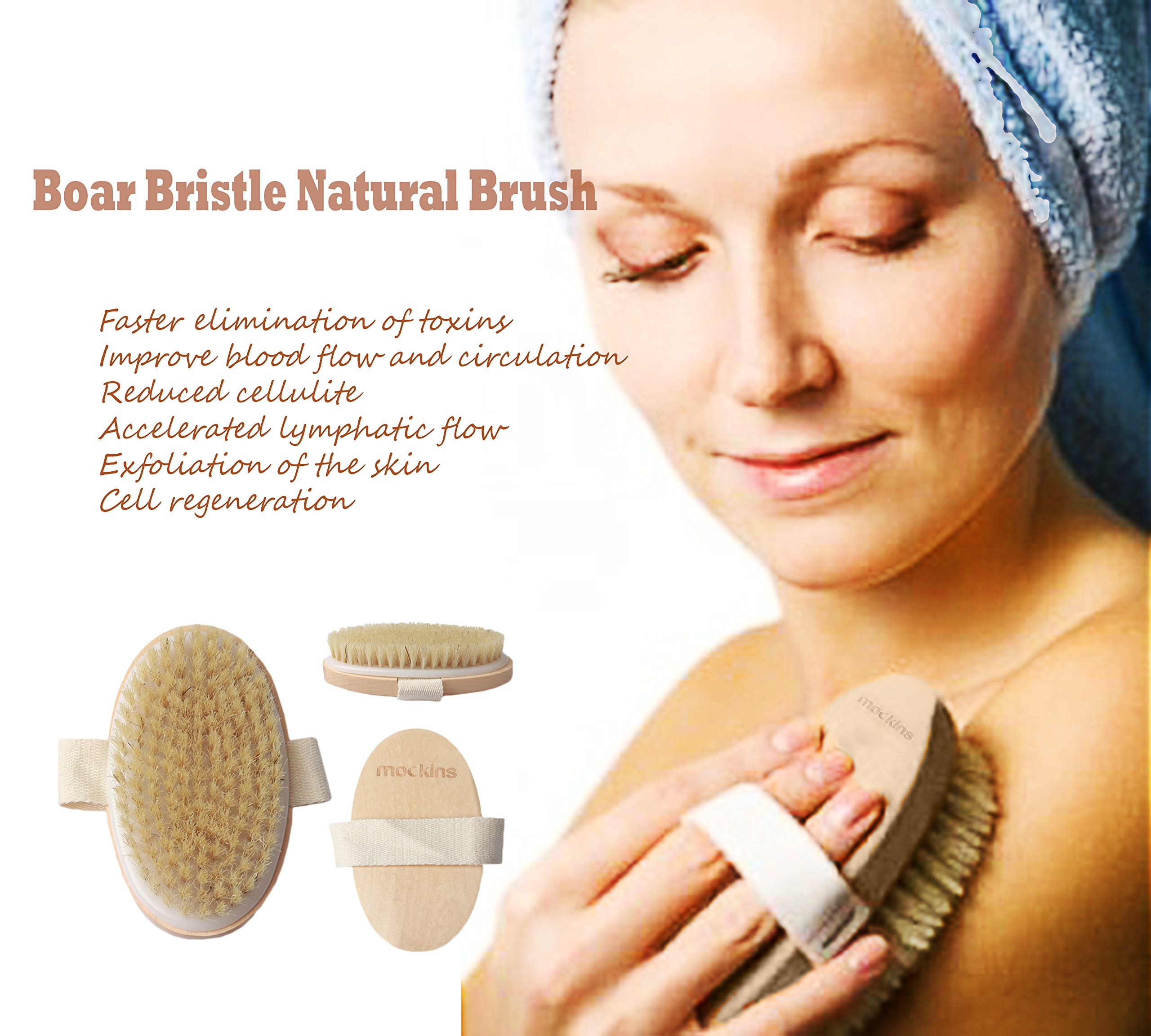 mockins Natural Boar Bristle Body Brush Set With Detachable Cellulite Brush And Long Wooden Handle For Dry Brushing Perfect Kit To Exfoliate And Alleviate Cellulite - Best Mother's Day Gift Set … … by Mockins (Image #7)