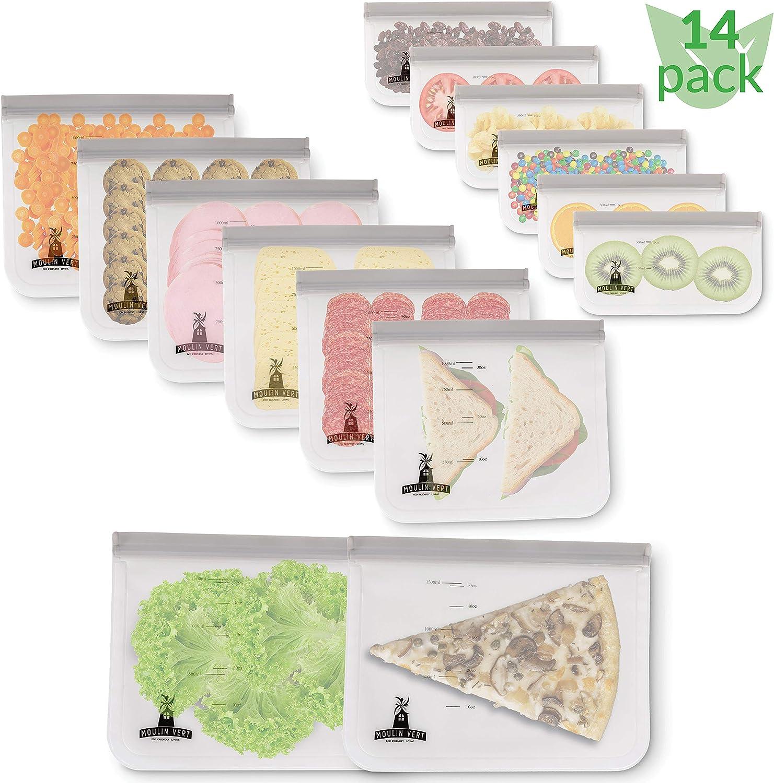 Moulin Vert [ 14 Pack ] Reusable Storage Ziplock Bags BPA Free – Includes 6 Leakproof Reusable Snack Bags, 6 Thick Reusable Sandwich Bags and 2 Large Reusable Freezer Bags