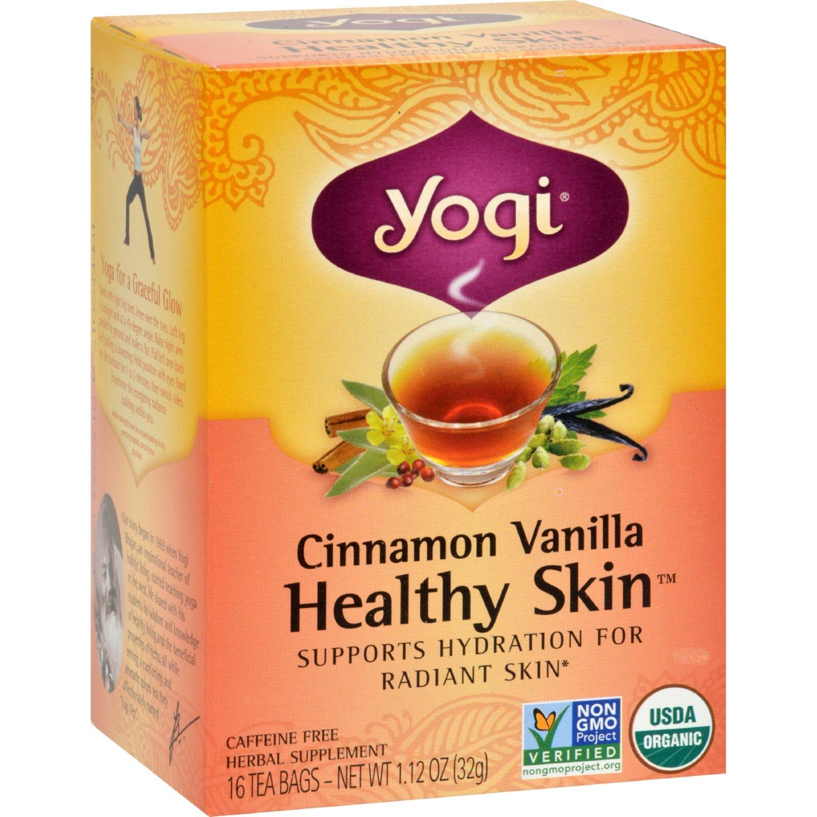 Yogi Teas Cinnamon Vanilla Healthy Skin Tea - 16 Tea Bags - Case of 6 by Yogi