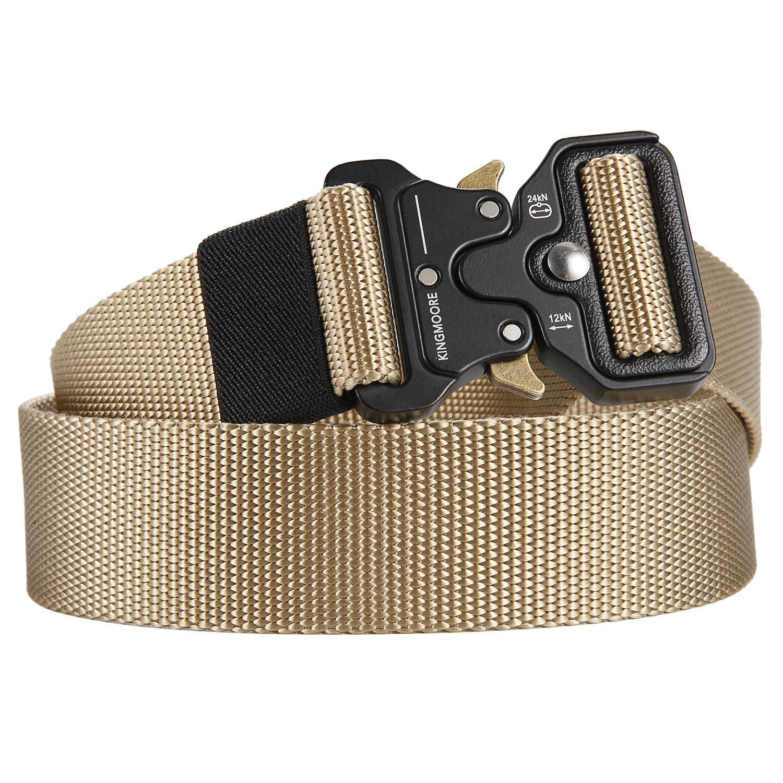 Men's Tactical Belt Heavy Duty Webbing Belt Adjustable Military Style Nylon Belts with Metal Buckle by KingMoore (Image #2)