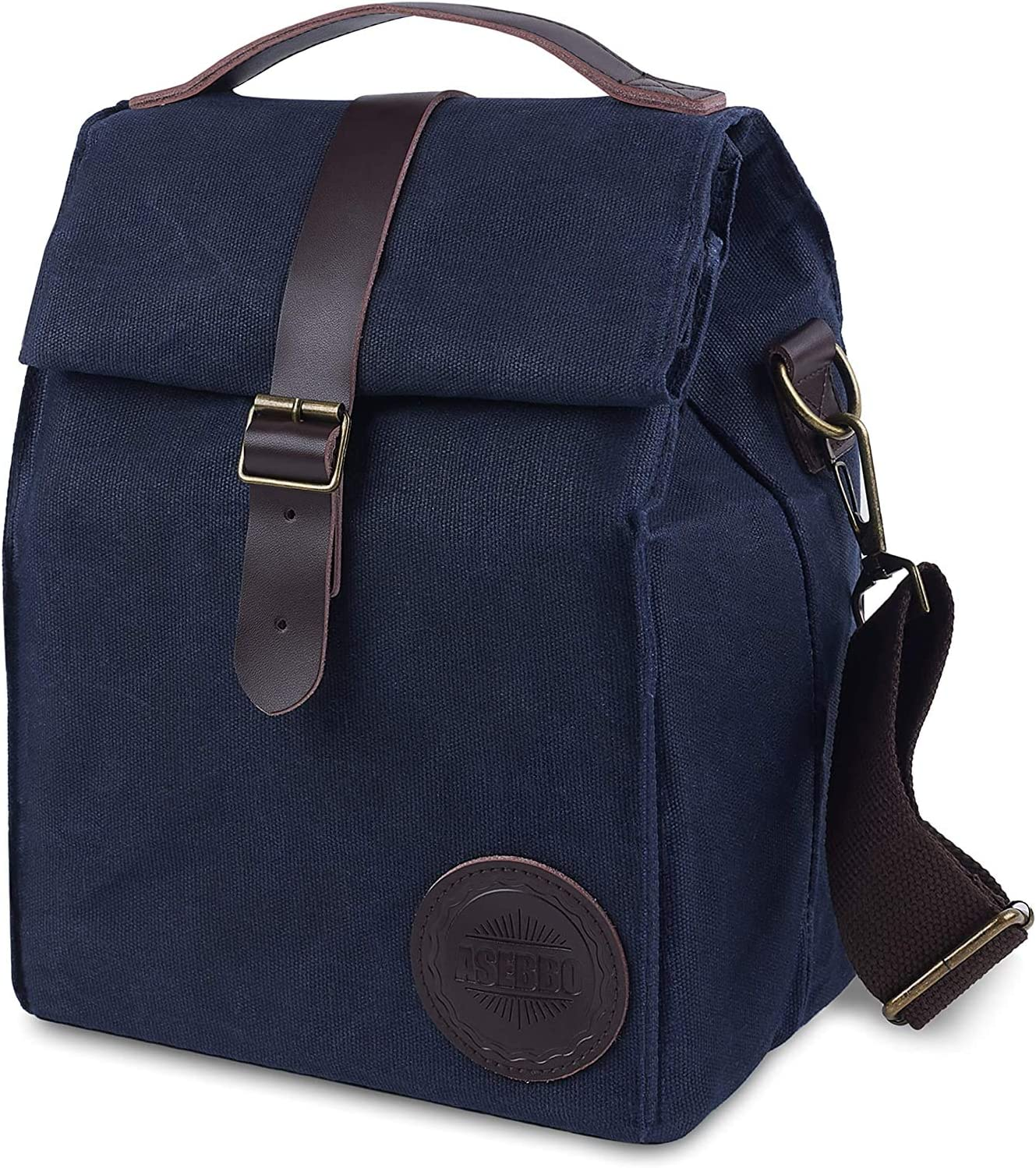 Insulated Waxed Canvas Lunch Bag by ASEBBO 10L Lunch Box for Women, Men with Genuine Leather Handle and Strong Buckle-Closure to Keep Your Food Cool, Lunch Tote, Adjustable Strap (Blue 2.0 IMPROVED)
