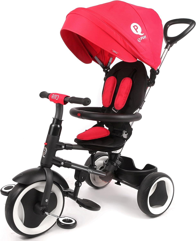 Cochecito Triciclo plegable Qplay Rito 3en1con barra orientable y capota para el sol. Color: rojo