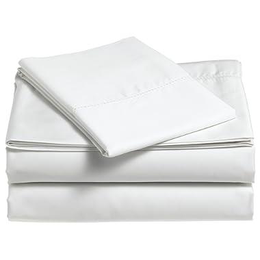 Pinzon 400-Thread-Count Egyptian Cotton Sateen Hemstitch Sheet Set - Queen, Eggshell
