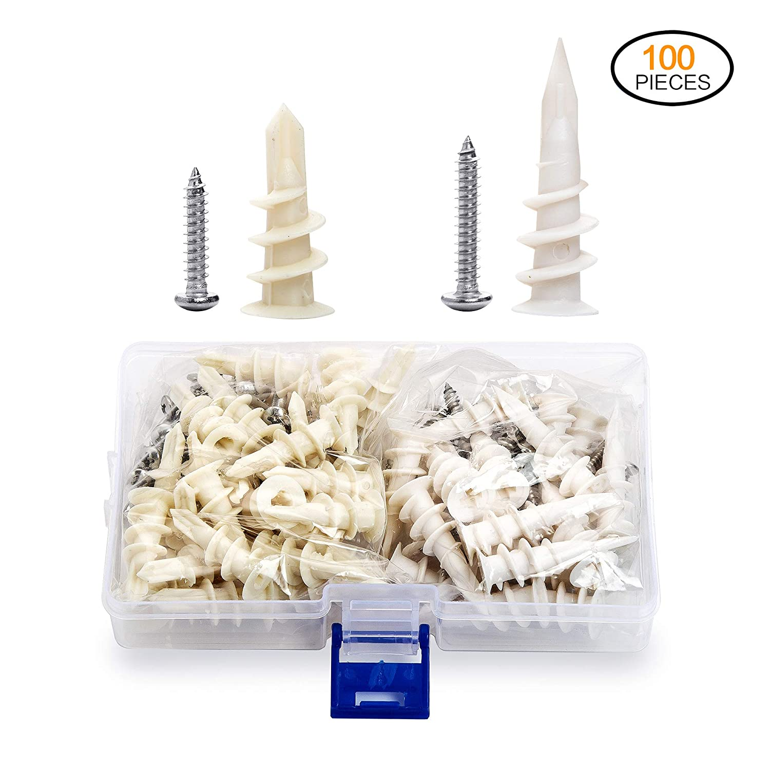 Drywall Anchors 100 Pcs Plastic Self Drilling Hollow Wall Anchors with Tapping Screws 2 Size Assortment Kit JUIDINTO