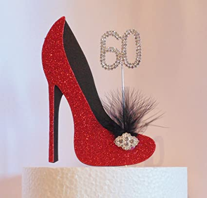 4ad5b1071e4ca 60th Birthday Cake Decoration Red and Black Shoe with Feather ...