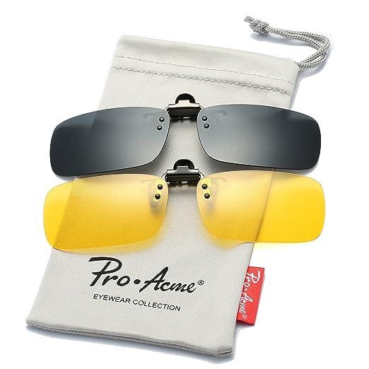 37051cc27e5 Pro Acme Polarized Clip on Sunglasses Unisex Frameless Rectangle Lens  (2-Pack) (