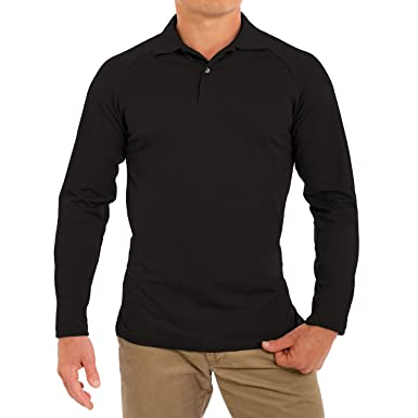 74929f598a835d CC Perfect Slim Fit Long Sleeve Polo Shirts for Men | Soft Fitted  Breathable Mens Long
