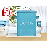 Laundry Detergent Storage Washing Soda Box, 4 FREE Mesh Bags, Laundry Room Decor, 9 Inch High, Blue