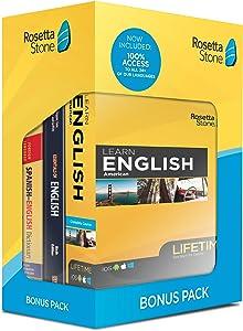 Rosetta Stone Learn English Bonus Pack Bundle  Lifetime Online Access + Grammar Guide + Dictionary Book Set  PC/Mac Keycard