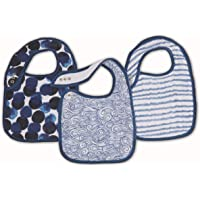 Aden and Anais Seafaring Muslin Snap Bibs, Blue, 3 Count