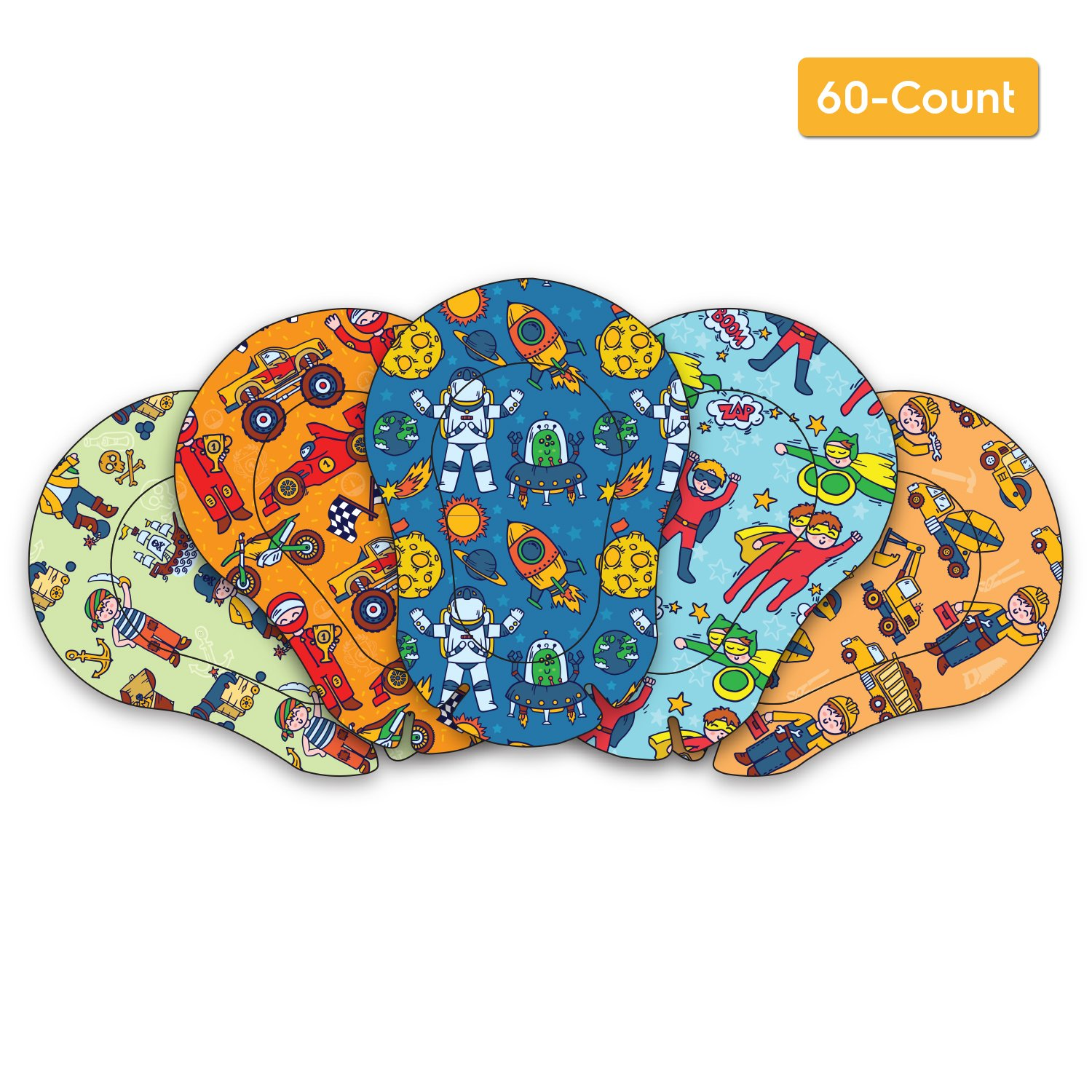 AccuMed Orthopedic Kid's Adhesive Disposable Medical Eye Patch Bandages with 5 Different Designs for Boys in Regular size for Lazy Eye, Amblyopia or Opticlude (2 Boxes, 30 per Box) (60 Count)