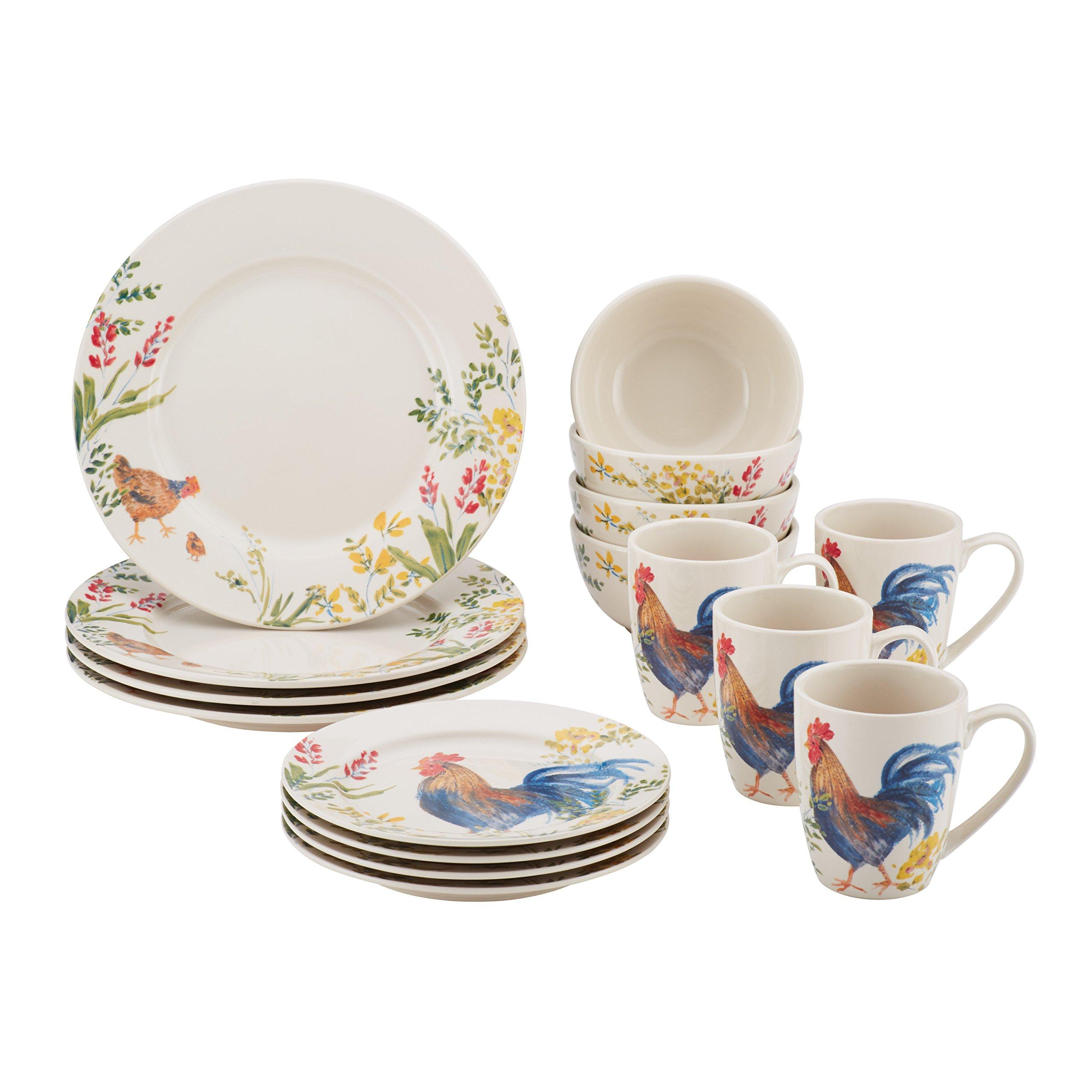 16 Piece Garden Rooster Dinnerware Set Kitchen Barn Country ...