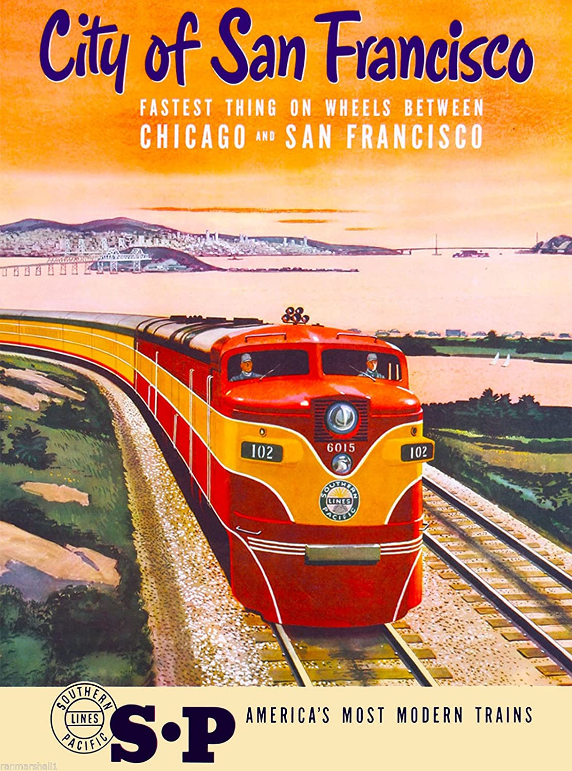 A SLICE IN TIME City of San Francisco California Southern Pacific Railroad Locomotive Train Vintage United States Travel Advertisement Poster