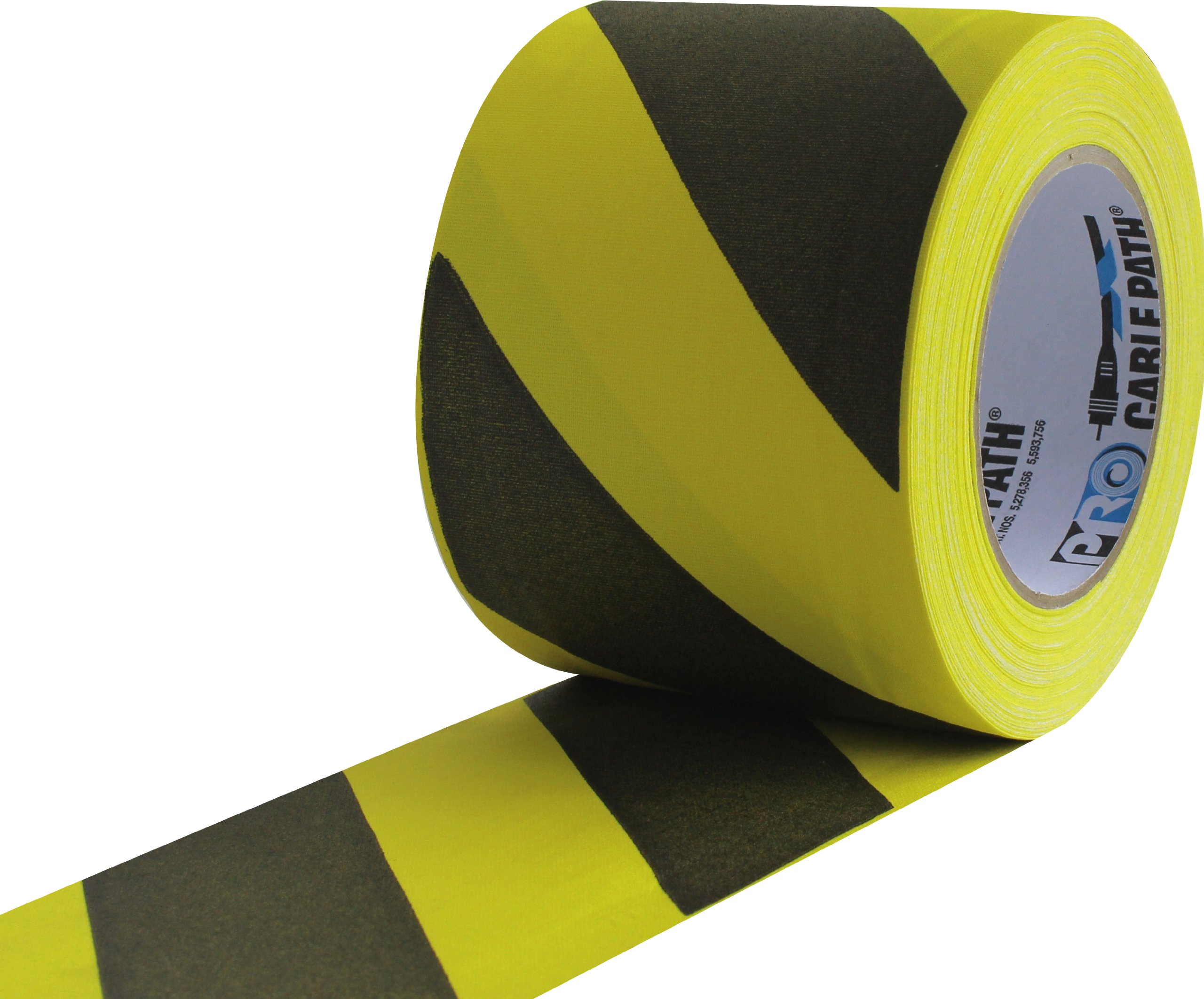 ProTapes Cable Path Cured Rubber Resin Zone Coated Gaffers Tape, 12.5 mil Thick, 30 yds Length, 4'' Width, Black/Yellow Stripes (Pack of 12)