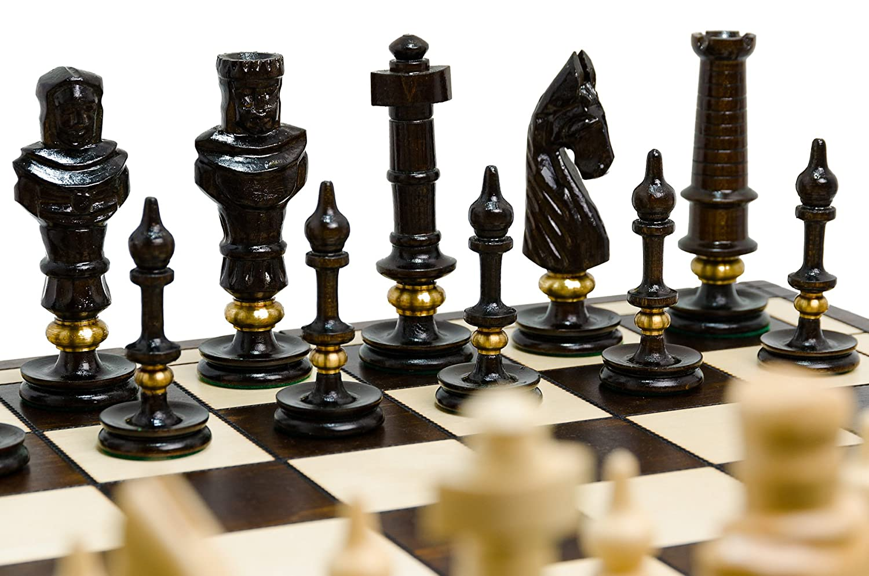 ROYAL LUX 65cm / 26in Messing verziert exklusives Holz Schach-Spiel, Handcrafted klassische Spiel