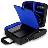 USA GEAR PlayStation 4 Slim & PS4 Pro Case Travel Console Carrying Bag with Controller, Games, Headset, Accessories Storage & Adjustable Padded Shoulder Strap - Fits All PS4 & PS3 Models - Blue