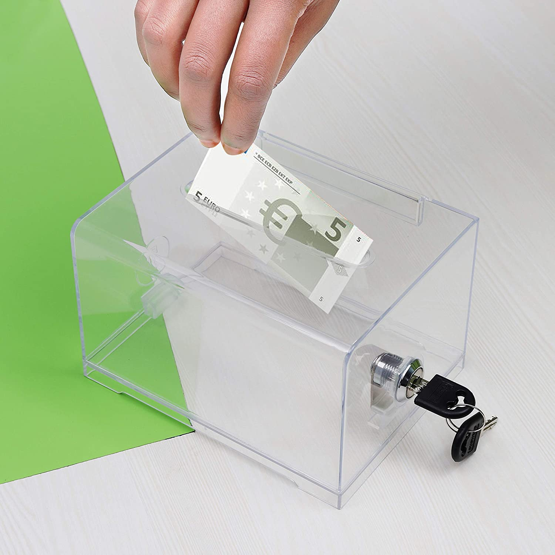 2er-Pack Spendenbox Fundraising Wahlen Gewinnspiel - L15.9 cm x B11.5cm x H10cm durchsichtige Acryl Sammelbox ? Spendendose -Losbox mit Schloss und 2 Schl/üssel ? Sammelbox f/ür Wohlt/ätigkeit